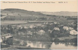 Officers Quarters, Cohocton River, Soldiers and Sailors Home, Bath, NY Postcard