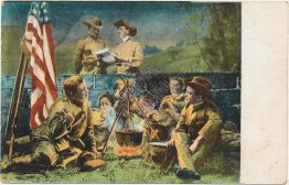 Military, Army Soldiers Around Camp Fire - Pre-1907 Patriotic Postcard