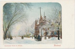 Sherbrooke St. in Winter, Montreal, Quebec, Canada - Early 1900's Postcard