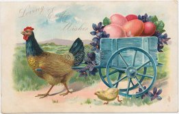 Rooster Drawn Egg Wagon - Easter Greetings Pre-1907 Embossed TUCK Postcard