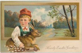 Boy Holding Bunny Rabbit - Easter Greetings - Early 1900's Embossed Postcard