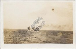 US Navy Battleship - USS Nevada ? - Early 1900's Real Photo RP Postcard