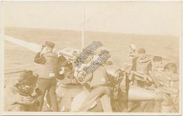 Sailors Firing, Loading Gun Aboard Ship - Early 1900's Real Photo RP Postcard