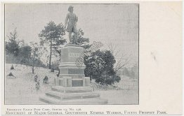 Gen Governeur Kemble Warren, Prospect Park, Brooklyn, NY Pre-1907 Postcard