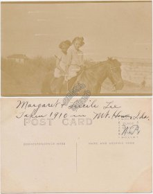 2 Girls Riding a Horse, Mt. Mountain Home, Idaho ID 1910 RP Real Photo Postcard