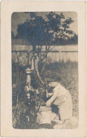 Child Pumping Water Well - Early 1900s Real Photo RP Postcard