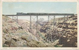 Train, Canyon Diablo, Arizona AZ - 1910 Fred Harvey Postcard