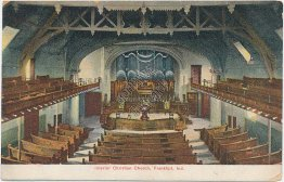 Interior Christian Church, Frankfort, IN Indiana 1910 Postcard