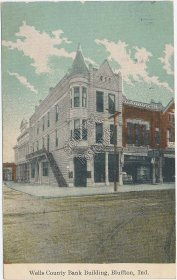Wells County Bank Building, Bluffton, IN Indiana 1910 Postcard