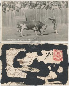 Bull Fight at Tijuana, Mexico - Early 1900's Real Photo RP RPPC Postcard