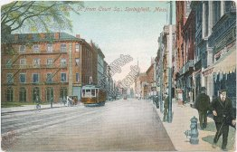 Main St., Court Square, Trolley, Springfield, MA Massachusetts Pre-1907 Postcard