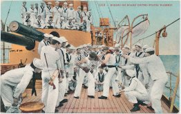 Sailors Boxing on Board US Navy War Ship, Battleship - Early 1900's Postcard