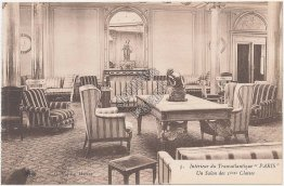 First Class Salon French Line Transatlantique S.S. Paris, Ship Interior Postcard