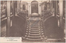 Grand Stairway, French Line Transatlantique S.S. Paris Steamer - Early Postcard