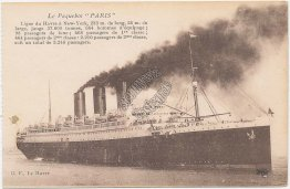 French Line Transatlantique S.S. Paris Steam Ship - Early 1900's Postcard