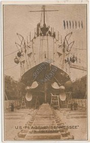 U.S.S. Tennessee Battleship in Dry Dock, US Navy Flag Ship - 1911 Postcard