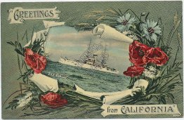 US Navy Battleship USS Alabama - Greetings from California Border Postcard