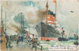 Cunard Line Ship, Landing Stage, Liverpool, UK Art Noveau 1904 Postcard