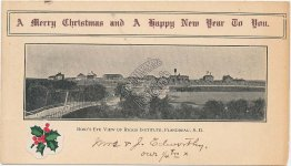 Riggs Institute, Flandreau, SD Christmas New Year 1906 Postcard