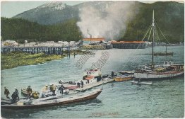 Boats, Town of Wrangell, Alaska AK - Early 1900's Postcard