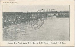 Bridge Held by Loaded Coal Cars, Kansas City Flood, KS - June, 1908 Postcard