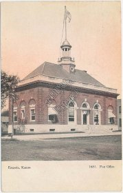 US Post Office, Emporia, Kansas KS Pre-1907 Postcard