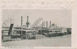 Unloading Boats on the Levee, St. Louis, MO Missouri 1906 Postcard