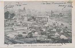 Bird's Eye View, Earthquake Refugee Camp, San Francisco, CA 1906 Postcard