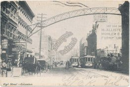 Trolley, High Street, Columbus, OH Ohio Pre-1907 Postcard