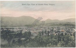 Bird's Eye View, Grants Pass, OR Oregon - Early 1900's Postcard