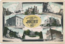 8 Views, Greetings from Joliet, IL Illinois - Early 1900's Postcard