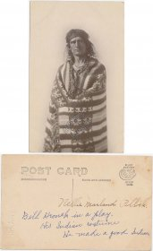 Man in Woven Blanket Indian Costume, Mt. Mountain Home, ID Idaho RP Postcard