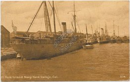 Ships, Mare Island Navy Yard, Vallejo, CA - Early 1900's Postcard