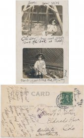 Girl & Teddy Bear on Swing, Dever, CO - Early 1900's Real Photo RP Postcard