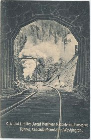 Oriental Limited Train, Great Northern RR, Cascade Mountains Mts., WA Postcard