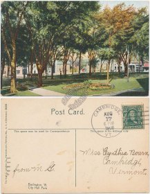 City Hall Park, Burlington, VT Vermont 1908 Postcard
