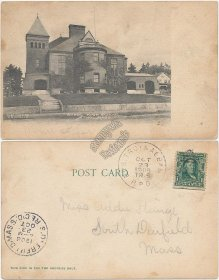 High School, Athol, MA Massachusetts 1906 Bos. Troy & Albany RPO Cancel Postcard