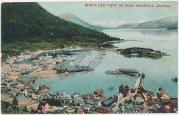 Bird's Eye View, Fort Wrangle, Alaska AK - Early 1900's Postcard