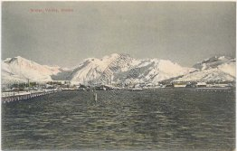 Winter Scene, Valdez, Alaska AK - Early 1900's Postcard