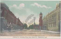 Clinton St., Main St., Frankfort, IN Indiana - Early 1900's Postcard