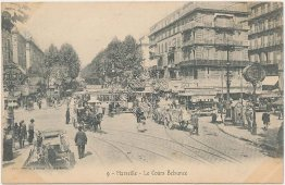 Trolley Cars, Horse Wagons, Le Cours Belsunce, Marseille France - Early Postcard