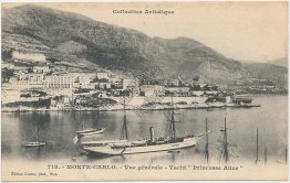 Yacht Princess Alice, Boat, Monte Carlo, France - Early 1900's Postcard