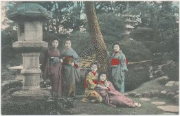 Garden, Japanese Geisha Girls, Japan - Early 1900's Hand Colored Postcard