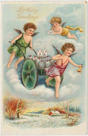 3 Cherubs, Charriot w/ Letters - 1910 Birthday Greetings Postcard