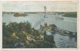 Steamer SS Toronto, Thousand Islands, St. Lawerence River, Canada Early Postcard