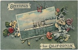 USS Conneticut Navy Ship, Greetings from California - Great White Fleet Postcard