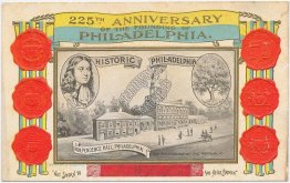 225th Anniversary of Founding of Philadelphia, PA - Embossed Patriotic Postcard