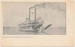 Steamer on Mississippi River, New Orleans, LA Louisiana Pre-1907 Postcard