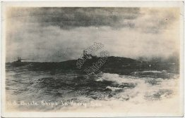 US Navy Battle Ships in Heavy, Rough Seas - Early 1900's Real Photo RP Postcard