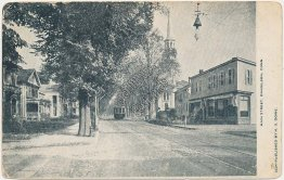 Trolley, Main St., Danielson, CT Conneticut Pre-1907 Postcard